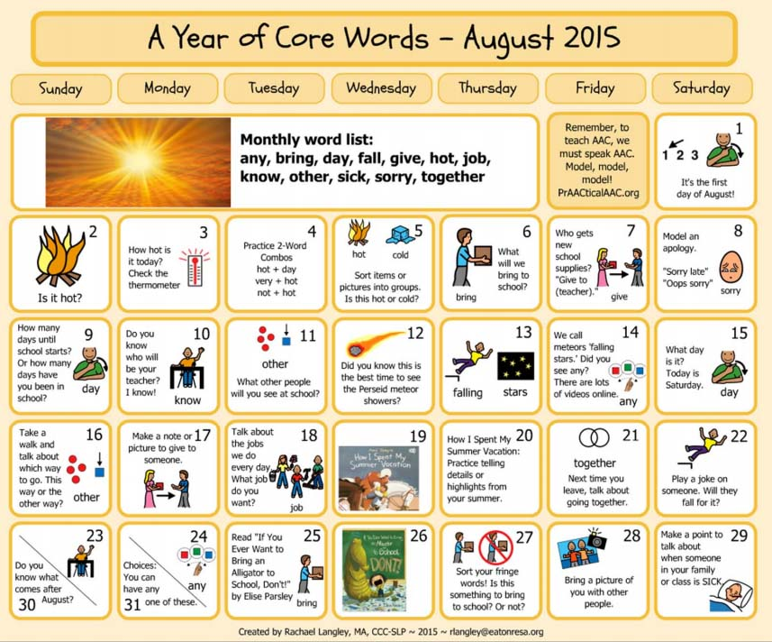 PrAACtically August: Resources for A Year of Core Vocabulary Words